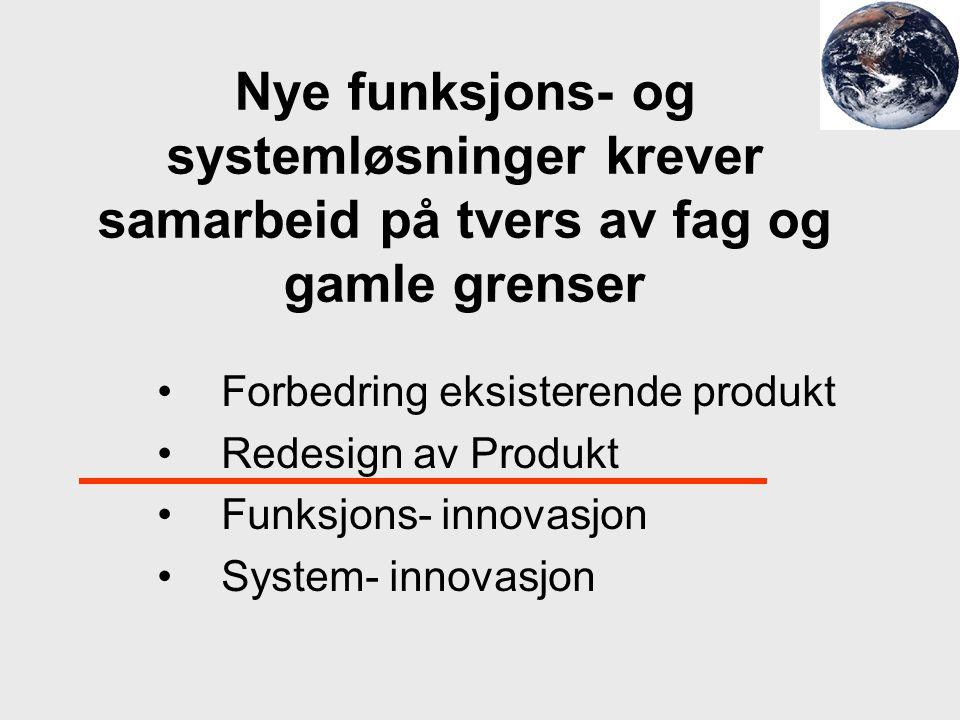 Nye funksjons- og systemløsninger krever samarbeid på tvers av fag og gamle grenser Forbedring eksisterende produkt Redesign av Produkt Funksjons- inn