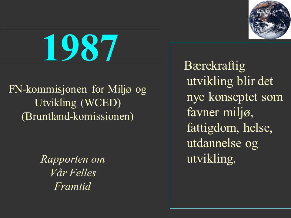 FN-kommisjonen for Miljø og Utvikling (WCED) (Bruntland-komissionen) 1987 Rapporten om Vår Felles Framtid Bærekraftig utvikling blir det nye konseptet