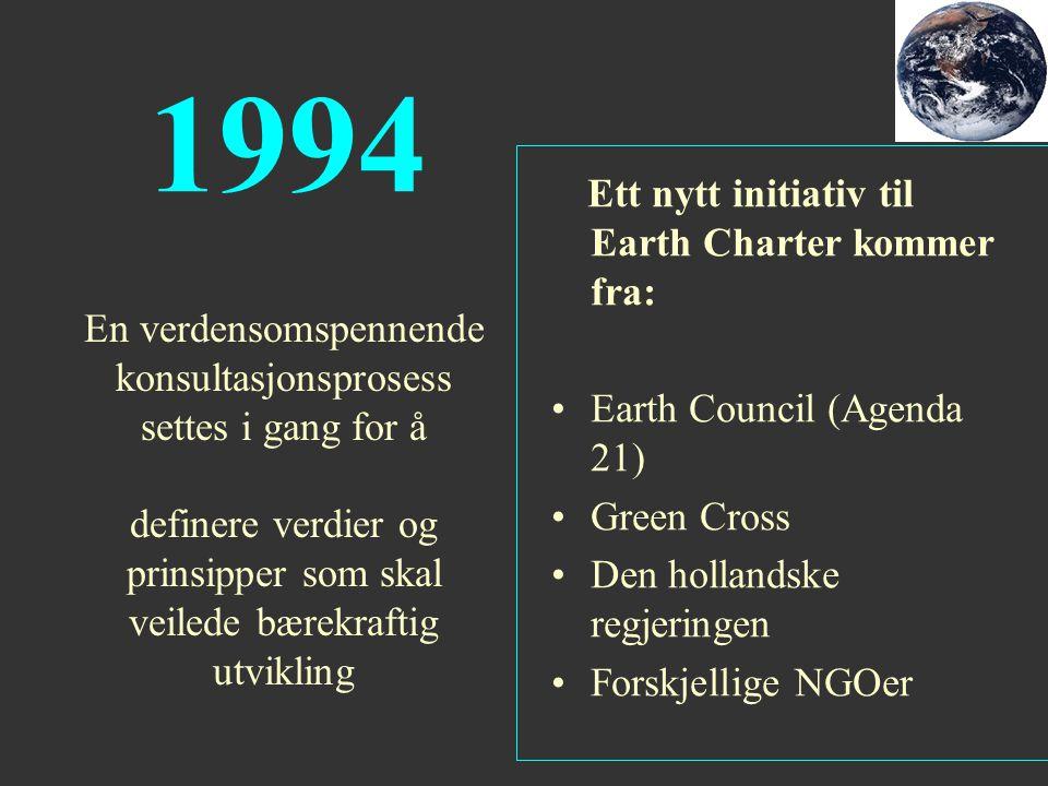 1994 Ett nytt initiativ til Earth Charter kommer fra: Earth Council (Agenda 21) Green Cross Den hollandske regjeringen Forskjellige NGOer En verdensom