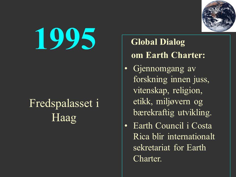 1995 Global Dialog om Earth Charter: Gjennomgang av forskning innen juss, vitenskap, religion, etikk, miljøvern og bærekraftig utvikling. Earth Counci