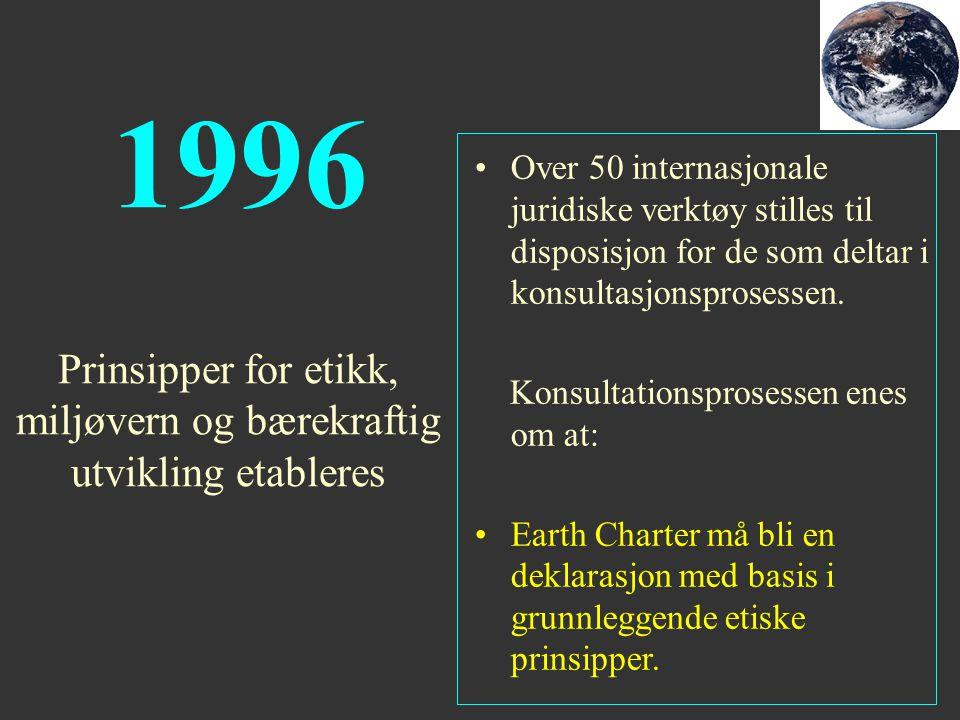 1996 Over 50 internasjonale juridiske verktøy stilles til disposisjon for de som deltar i konsultasjonsprosessen. Konsultationsprosessen enes om at: E