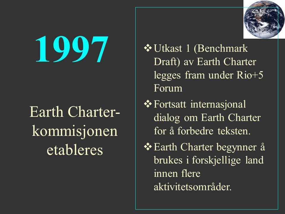 1997  Utkast 1 (Benchmark Draft) av Earth Charter legges fram under Rio+5 Forum  Fortsatt internasjonal dialog om Earth Charter for å forbedre tekst