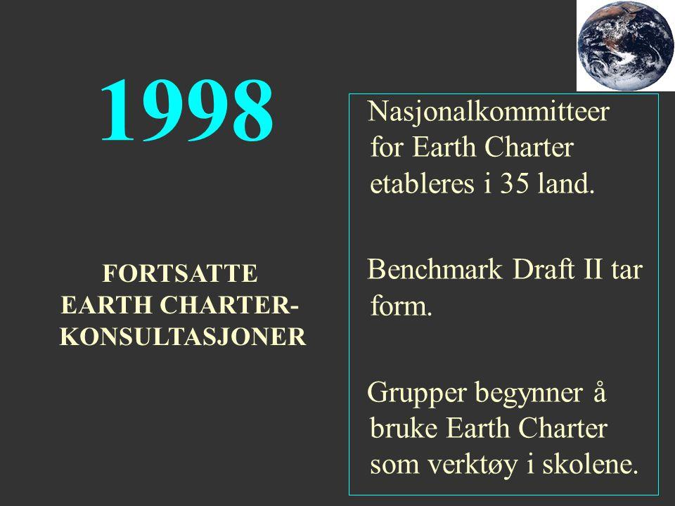 1998 Nasjonalkommitteer for Earth Charter etableres i 35 land. Benchmark Draft II tar form. Grupper begynner å bruke Earth Charter som verktøy i skole