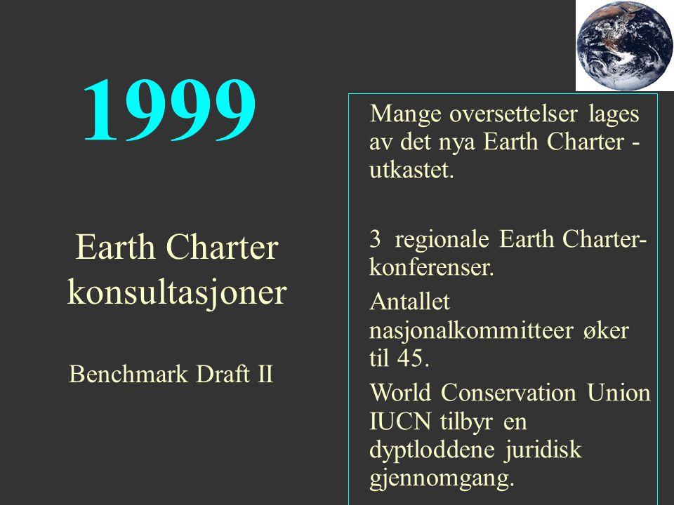1999 Mange oversettelser lages av det nya Earth Charter - utkastet. 3 regionale Earth Charter- konferenser. Antallet nasjonalkommitteer øker til 45. W