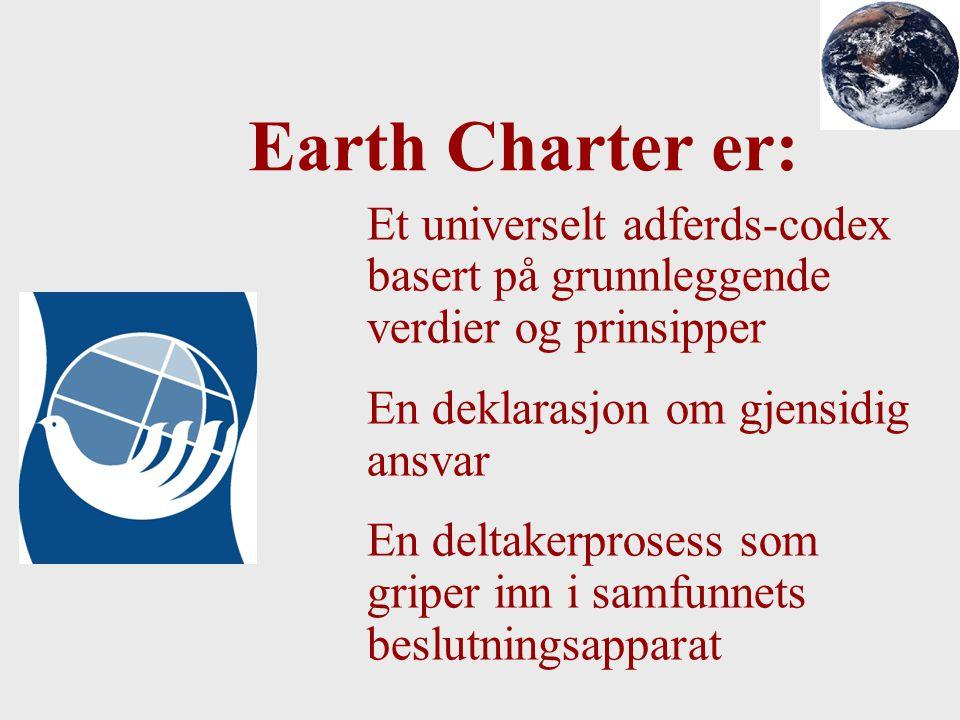 Et universelt adferds-codex basert på grunnleggende verdier og prinsipper En deklarasjon om gjensidig ansvar En deltakerprosess som griper inn i samfu