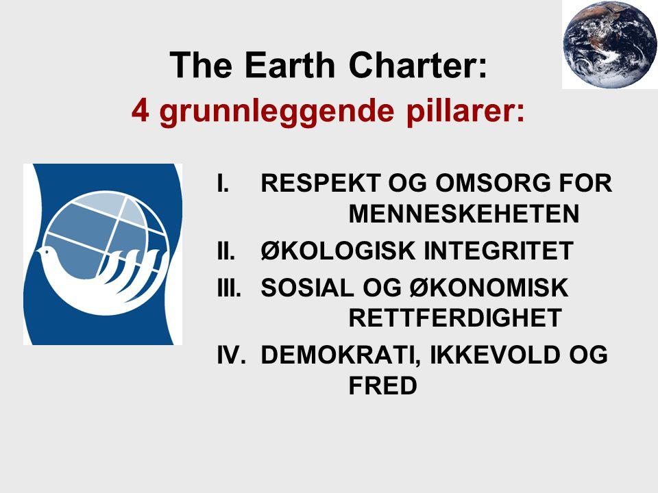 The Earth Charter: 4 grunnleggende pillarer: I. RESPEKT OG OMSORG FOR MENNESKEHETEN II. ØKOLOGISK INTEGRITET III.SOSIAL OG ØKONOMISK RETTFERDIGHET IV.