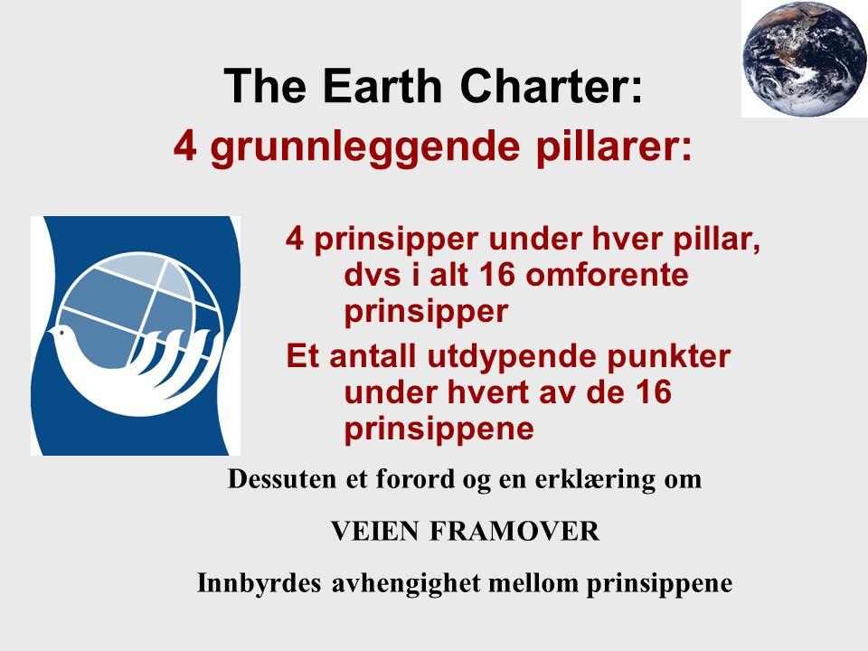 The Earth Charter: 4 grunnleggende pillarer: 4 prinsipper under hver pillar, dvs i alt 16 omforente prinsipper Et antall utdypende punkter under hvert