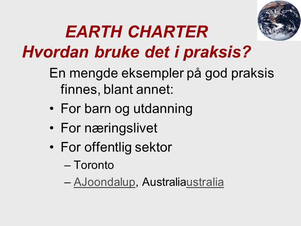 EARTH CHARTER Hvordan bruke det i praksis? En mengde eksempler på god praksis finnes, blant annet: For barn og utdanning For næringslivet For offentli