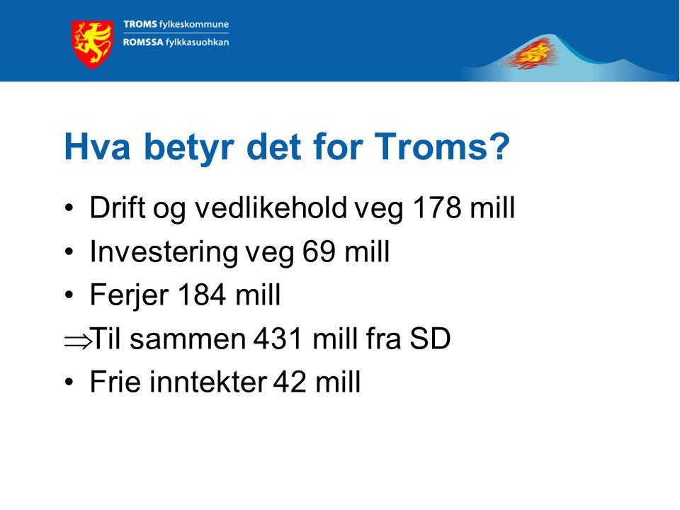 Økonomi Rammen til fylkesveger og riksvegferjer overføres til fylkeskommunene, til sammen 5,9 mrd. kroner Frie inntekter øker med 1 mrd. kroner som be