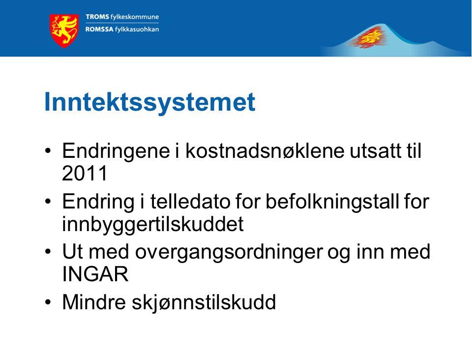 Ordinær rammeøkning Kommer økningen som skatt eller rammetilskudd? Økning for Troms: Som skatt 17 mill. kroner Som rammetilskudd 20 mill. kroner