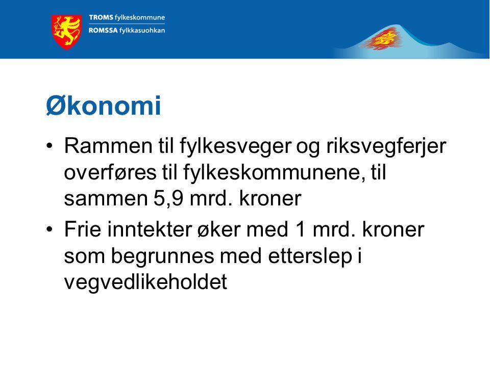 Samferdsel Etter forvaltningsreformen vil fylkeskommunene være ansvarlig for et vegnett på 44 000 km, og er dermed den største vegeieren Troms fylkeskommune overtar 1 180 km veg fra staten Fra 2010 utgjør fylkesveger til sammen 2 909 km