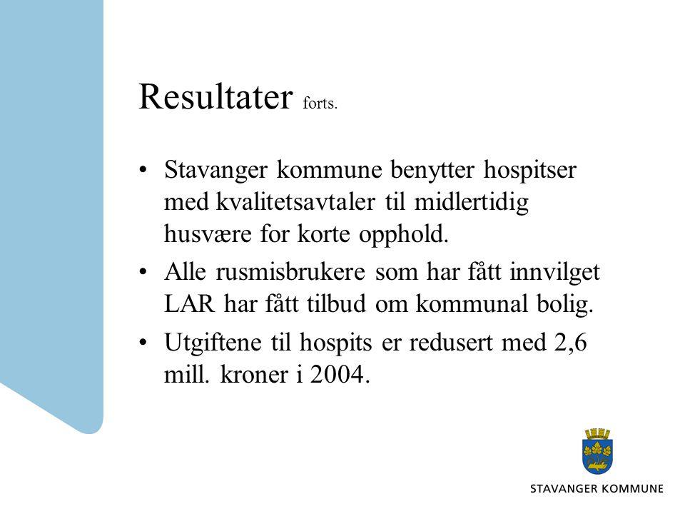 Resultater forts. Stavanger kommune benytter hospitser med kvalitetsavtaler til midlertidig husvære for korte opphold. Alle rusmisbrukere som har fått