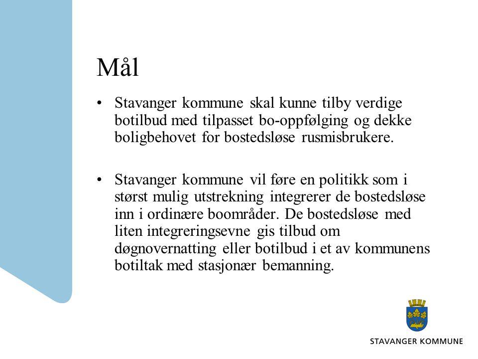 Mål Stavanger kommune skal kunne tilby verdige botilbud med tilpasset bo-oppfølging og dekke boligbehovet for bostedsløse rusmisbrukere. Stavanger kom