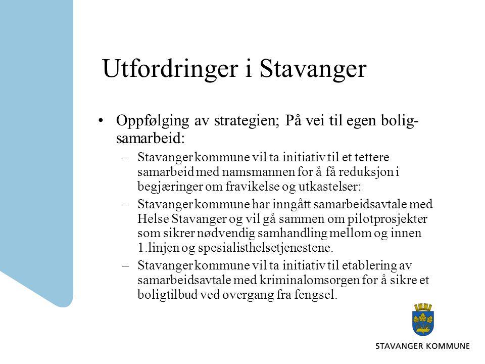Utfordringer i Stavanger Oppfølging av strategien; På vei til egen bolig- samarbeid: –Stavanger kommune vil ta initiativ til et tettere samarbeid med