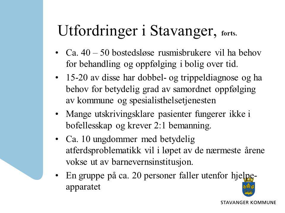 Utfordringer i Stavanger, forts. Ca. 40 – 50 bostedsløse rusmisbrukere vil ha behov for behandling og oppfølging i bolig over tid. 15-20 av disse har