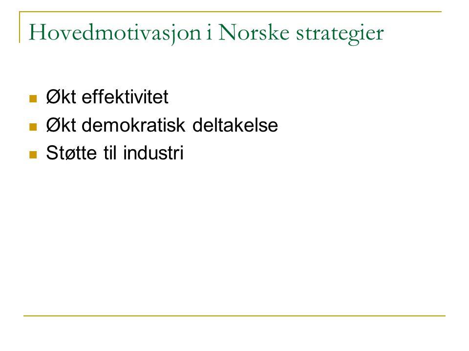 Hovedmotivasjon i Norske strategier Økt effektivitet Økt demokratisk deltakelse Støtte til industri