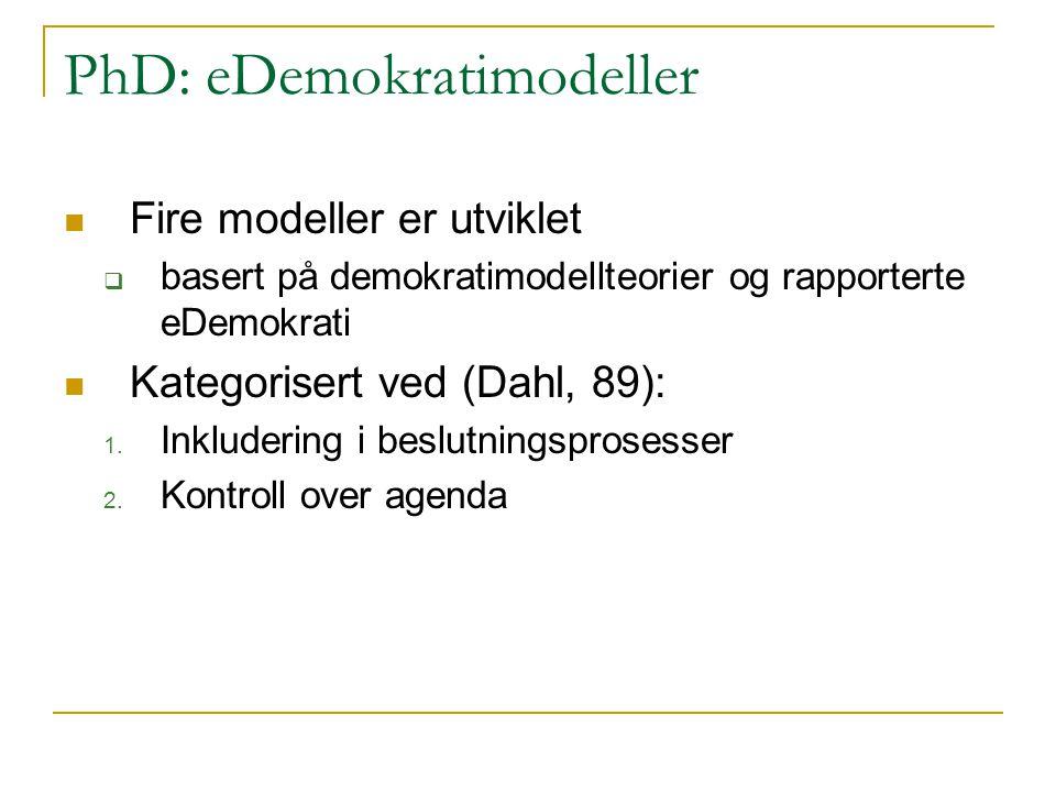 PhD: eDemokratimodeller Fire modeller er utviklet  basert på demokratimodellteorier og rapporterte eDemokrati Kategorisert ved (Dahl, 89): 1.