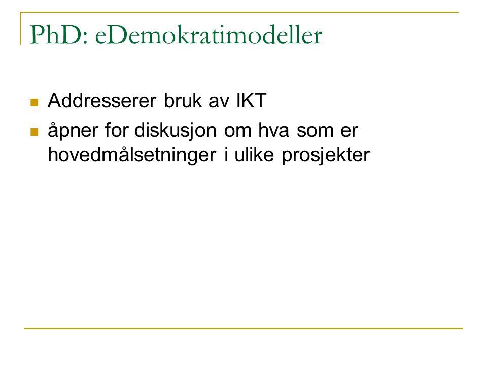 PhD: eDemokratimodeller Addresserer bruk av IKT åpner for diskusjon om hva som er hovedmålsetninger i ulike prosjekter