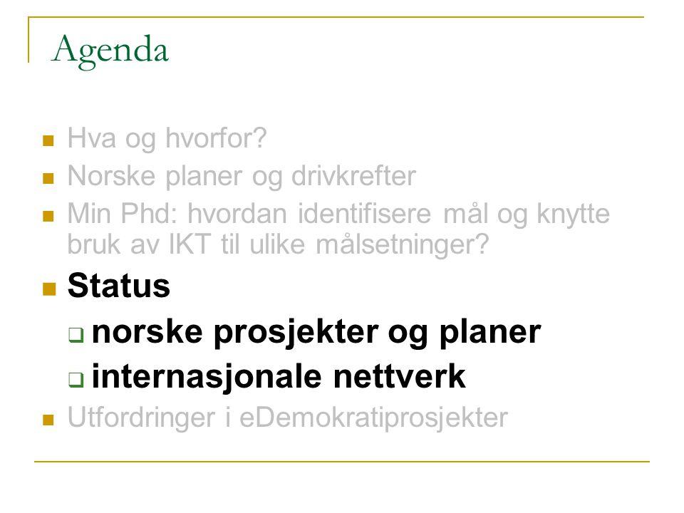 Agenda Hva og hvorfor? Norske planer og drivkrefter Min Phd: hvordan identifisere mål og knytte bruk av IKT til ulike målsetninger? Status  norske pr