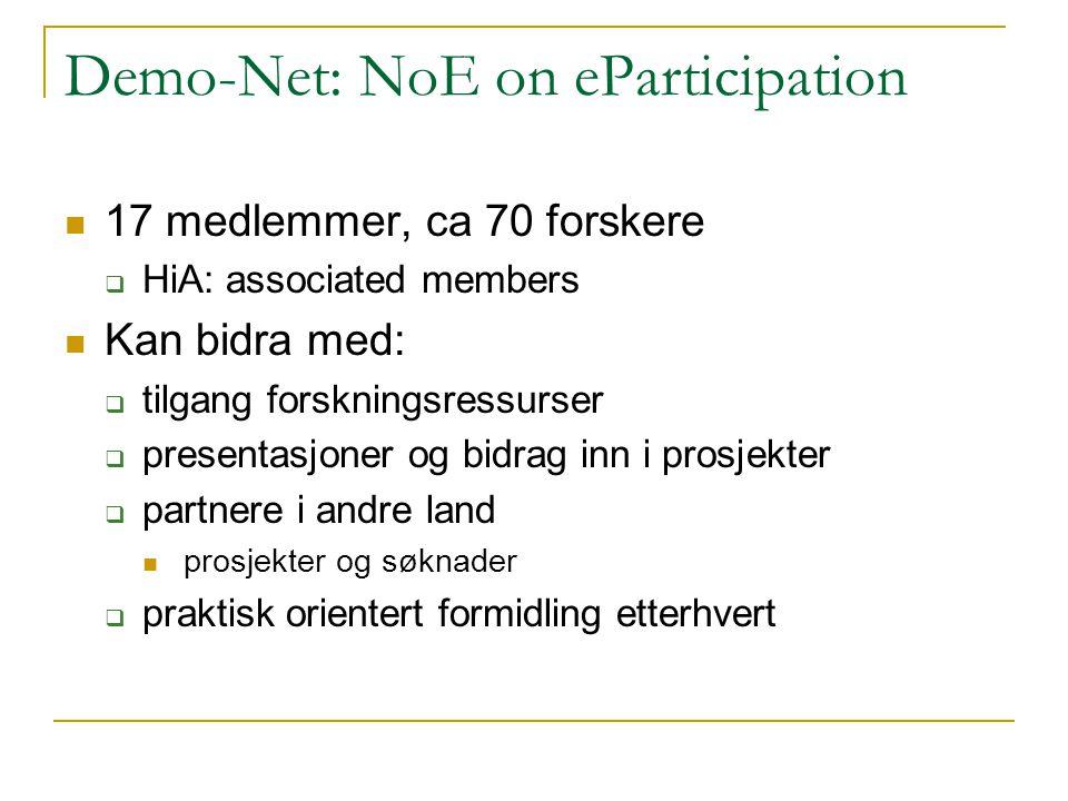 Demo-Net: NoE on eParticipation 17 medlemmer, ca 70 forskere  HiA: associated members Kan bidra med:  tilgang forskningsressurser  presentasjoner og bidrag inn i prosjekter  partnere i andre land prosjekter og søknader  praktisk orientert formidling etterhvert