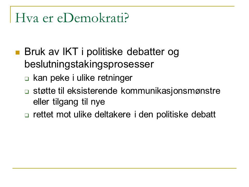 Hva er eDemokrati? Bruk av IKT i politiske debatter og beslutningstakingsprosesser  kan peke i ulike retninger  støtte til eksisterende kommunikasjo