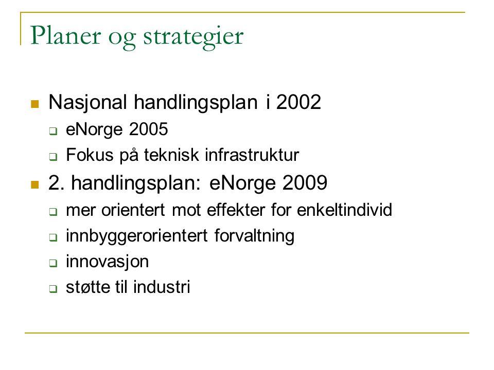 Planer og strategier Nasjonal handlingsplan i 2002  eNorge 2005  Fokus på teknisk infrastruktur 2. handlingsplan: eNorge 2009  mer orientert mot ef