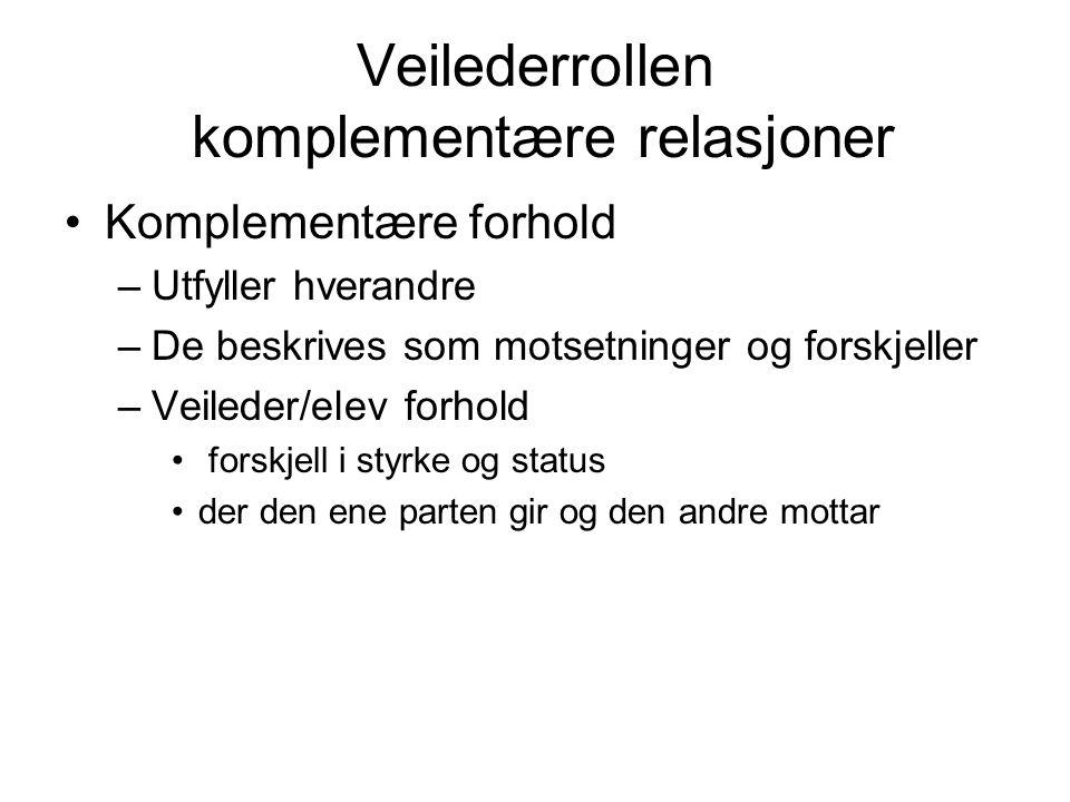 Veilederrollen komplementære relasjoner Komplementære forhold –Utfyller hverandre –De beskrives som motsetninger og forskjeller –Veileder/elev forhold