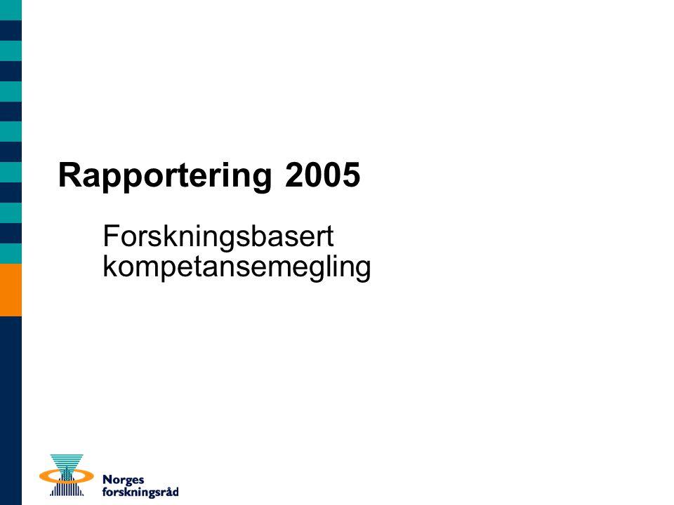 Rapportering 2005 Forskningsbasert kompetansemegling