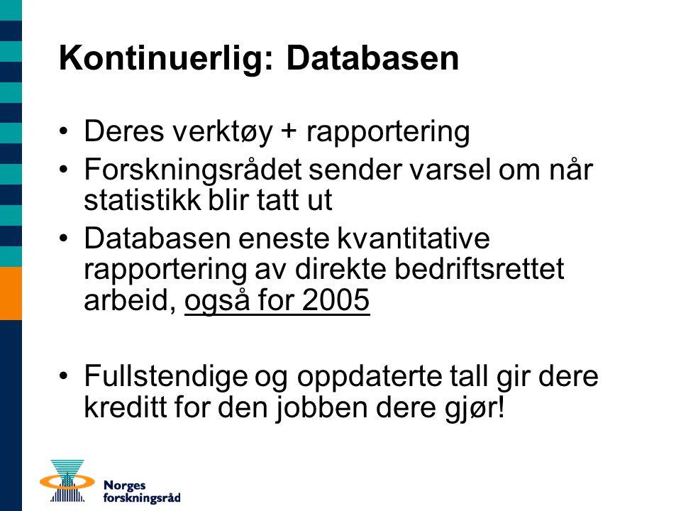 Kontinuerlig: Databasen Deres verktøy + rapportering Forskningsrådet sender varsel om når statistikk blir tatt ut Databasen eneste kvantitative rappor