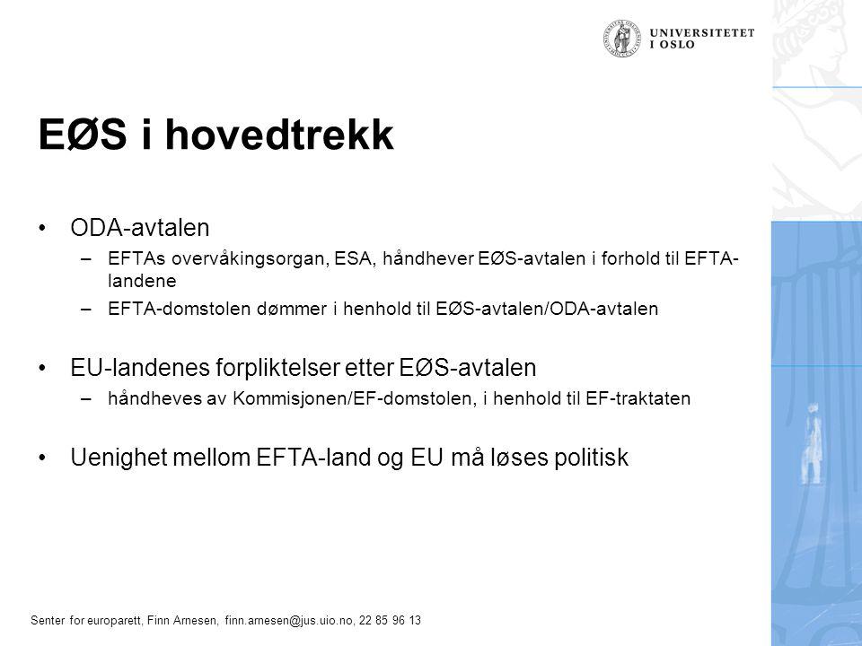 Senter for europarett, Finn Arnesen, finn.arnesen@jus.uio.no, 22 85 96 13 EØS i hovedtrekk ODA-avtalen –EFTAs overvåkingsorgan, ESA, håndhever EØS-avt