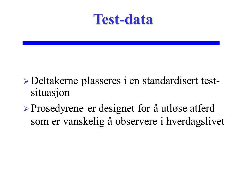  Deltakerne plasseres i en standardisert test- situasjon  Prosedyrene er designet for å utløse atferd som er vanskelig å observere i hverdagslivet T