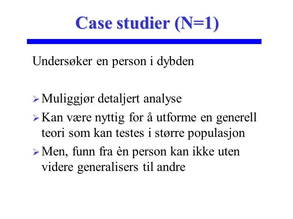Undersøker en person i dybden  Muliggjør detaljert analyse  Kan være nyttig for å utforme en generell teori som kan testes i større populasjon  Men