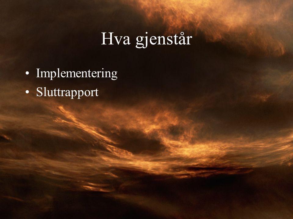 Hva gjenstår Implementering Sluttrapport
