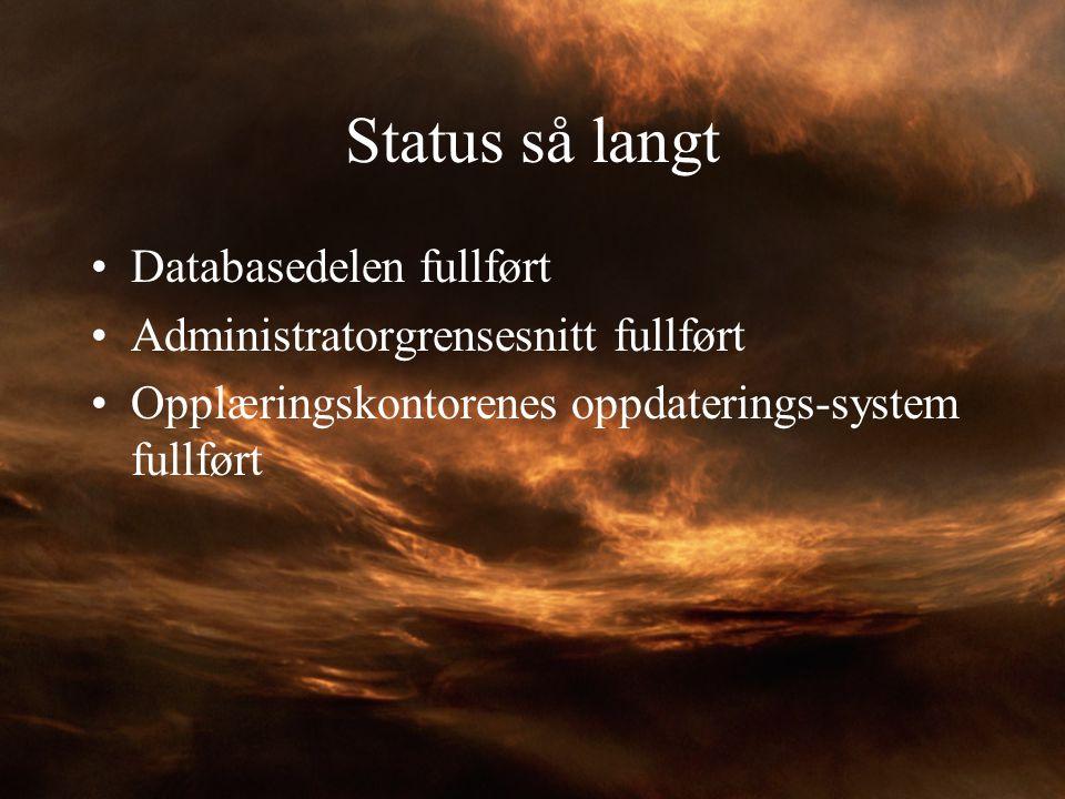 Status så langt Databasedelen fullført Administratorgrensesnitt fullført Opplæringskontorenes oppdaterings-system fullført