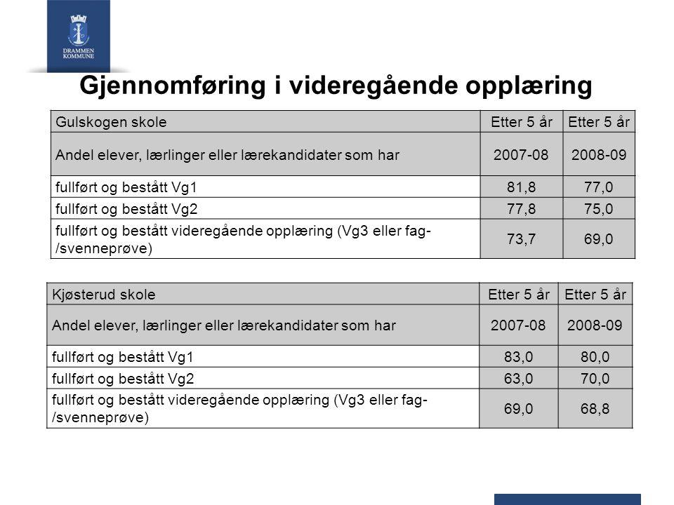 Gjennomføring i videregående opplæring Strømsø skole (Marienlyst skole)Etter 5 år Andel elever, lærlinger eller lærekandidater som har2007-082008-09 fullført og bestått Vg171,369,4 fullført og bestått Vg263,463,0 fullført og bestått videregående opplæring (Vg3 eller fag- /svenneprøve) 56,455,6 Svensedammen skoleEtter 5 år Andel elever, lærlinger eller lærekandidater som har2007-082008-09 fullført og bestått Vg187,084,9 fullført og bestått Vg283,475,0 fullført og bestått videregående opplæring (Vg3 eller fag- /svenneprøve) 72,266,3