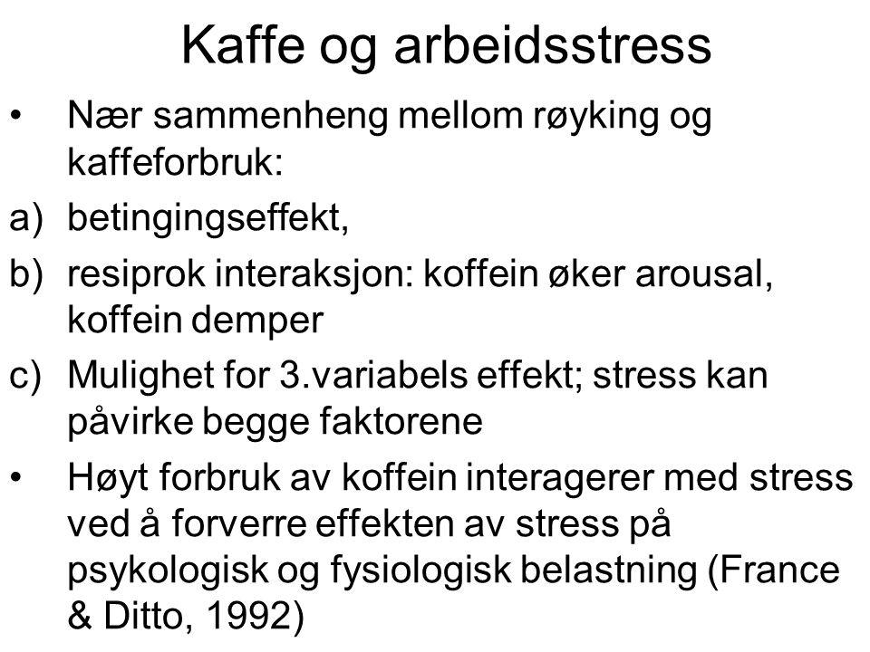 Kaffe og arbeidsstress Nær sammenheng mellom røyking og kaffeforbruk: a)betingingseffekt, b)resiprok interaksjon: koffein øker arousal, koffein demper c)Mulighet for 3.variabels effekt; stress kan påvirke begge faktorene Høyt forbruk av koffein interagerer med stress ved å forverre effekten av stress på psykologisk og fysiologisk belastning (France & Ditto, 1992)