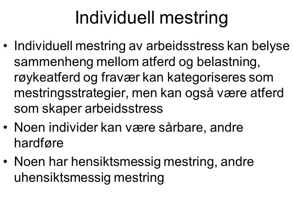 Individuell mestring Individuell mestring av arbeidsstress kan belyse sammenheng mellom atferd og belastning, røykeatferd og fravær kan kategoriseres