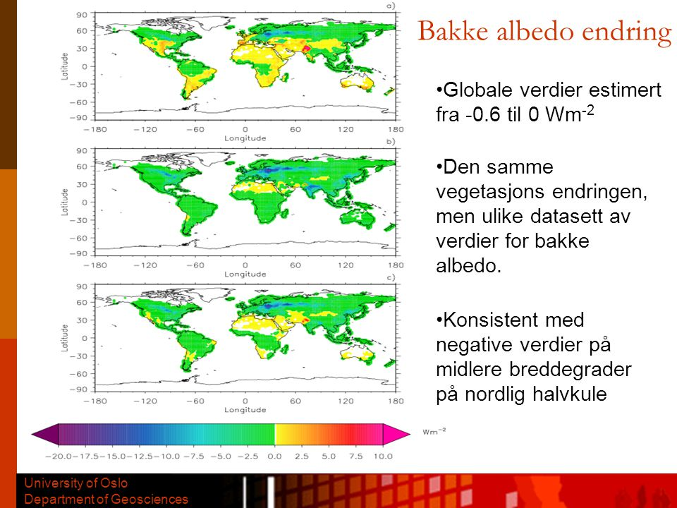 University of Oslo Department of Geosciences Geografisk fordeling av vanndamp fluks fra irrigasjon kg m -2 yr -1 Boucher, Myhre, Myhre, Clim.