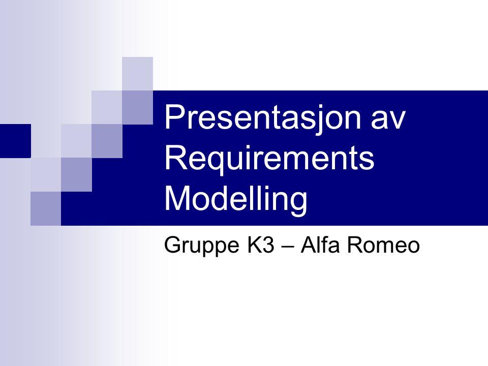 Presentasjon av Requirements Modelling Gruppe K3 – Alfa Romeo
