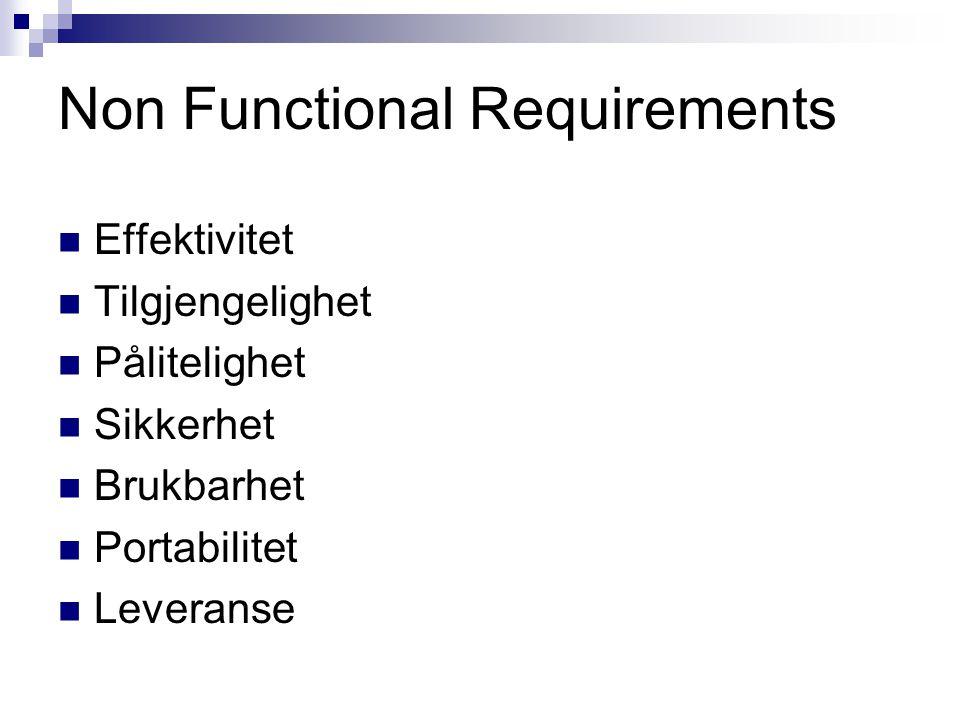 Non Functional Requirements Effektivitet Tilgjengelighet Pålitelighet Sikkerhet Brukbarhet Portabilitet Leveranse