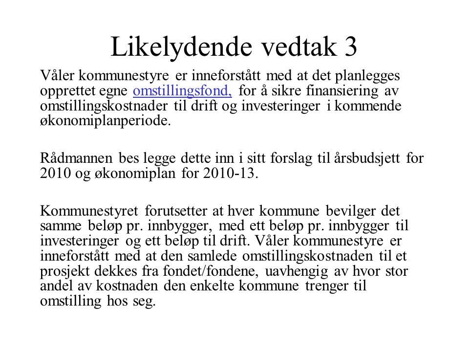 Likelydende vedtak 3 Våler kommunestyre er inneforstått med at det planlegges opprettet egne omstillingsfond, for å sikre finansiering av omstillingsk