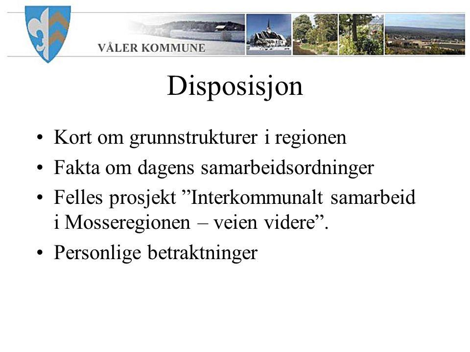 "Disposisjon Kort om grunnstrukturer i regionen Fakta om dagens samarbeidsordninger Felles prosjekt ""Interkommunalt samarbeid i Mosseregionen – veien v"