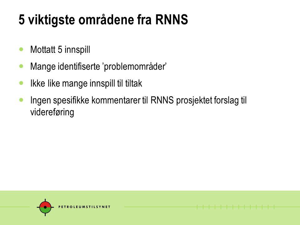 5 viktigste områdene fra RNNS Mottatt 5 innspill Mange identifiserte 'problemområder' Ikke like mange innspill til tiltak Ingen spesifikke kommentarer til RNNS prosjektet forslag til videreføring