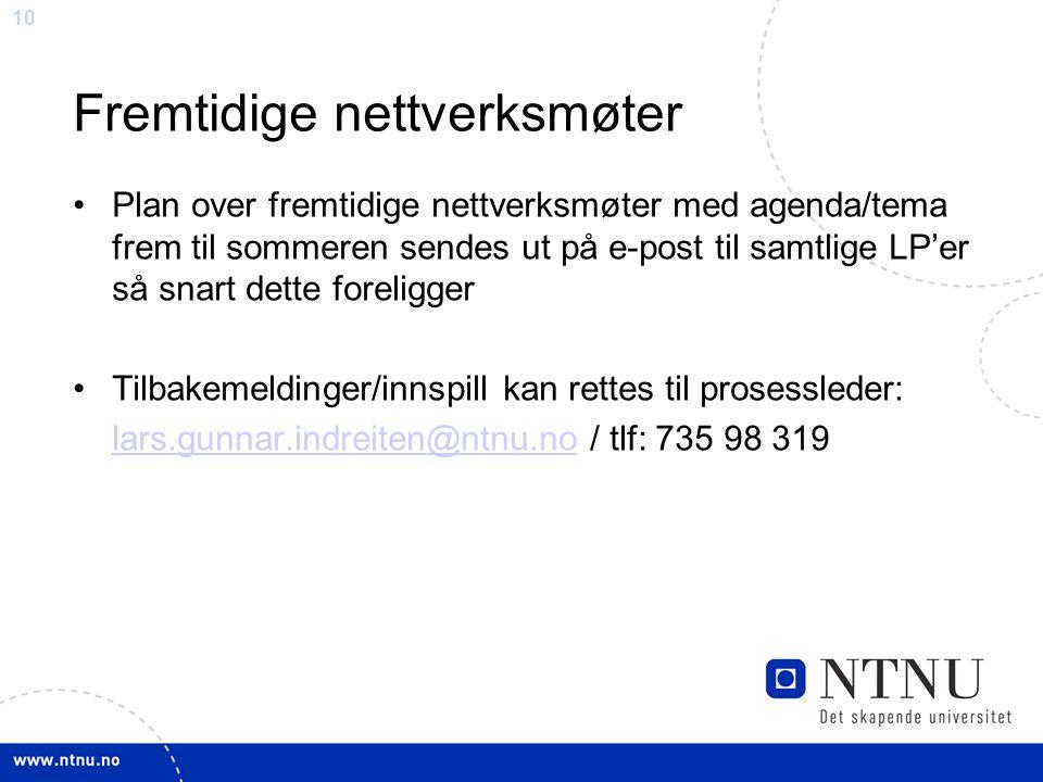 10 Fremtidige nettverksmøter Plan over fremtidige nettverksmøter med agenda/tema frem til sommeren sendes ut på e-post til samtlige LP'er så snart det