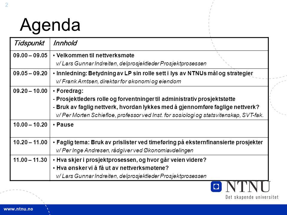 22 Agenda TidspunktInnhold 09.00 – 09.05 Velkommen til nettverksmøte v/ Lars Gunnar Indreiten, delprosjektleder Prosjektprosessen 09.05 – 09.20 Innled