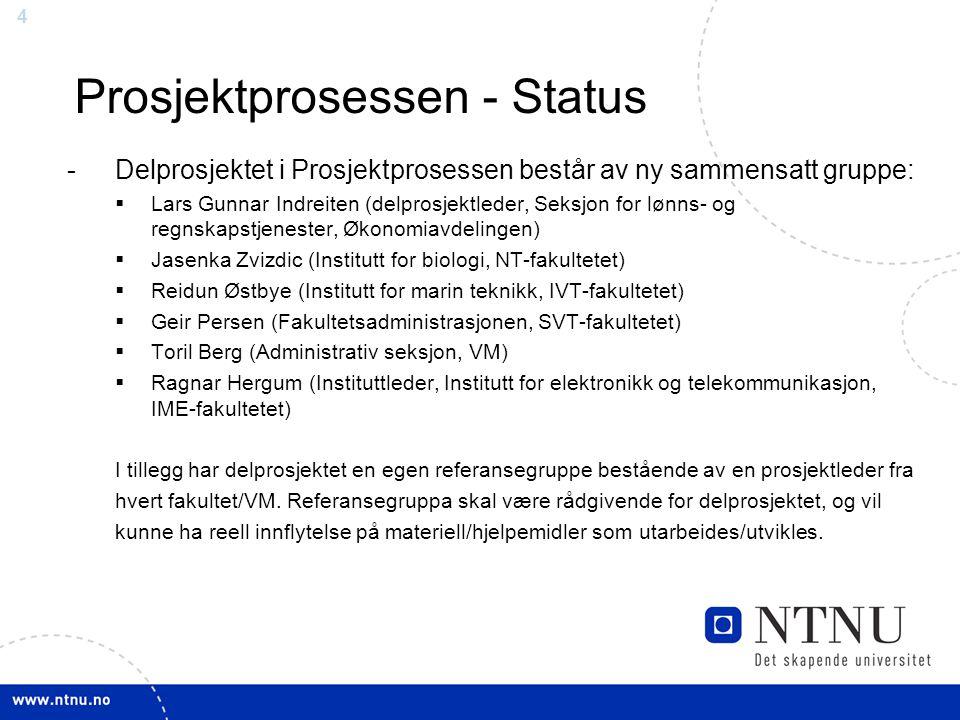 44 Prosjektprosessen - Status -Delprosjektet i Prosjektprosessen består av ny sammensatt gruppe:  Lars Gunnar Indreiten (delprosjektleder, Seksjon fo