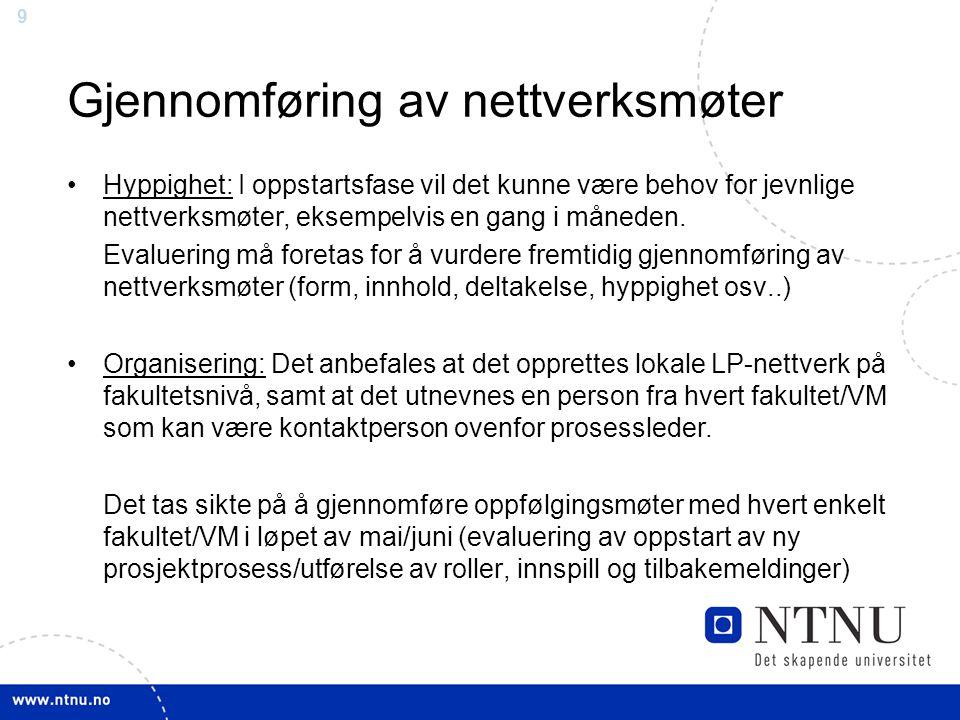 99 Gjennomføring av nettverksmøter Hyppighet: I oppstartsfase vil det kunne være behov for jevnlige nettverksmøter, eksempelvis en gang i måneden. Eva