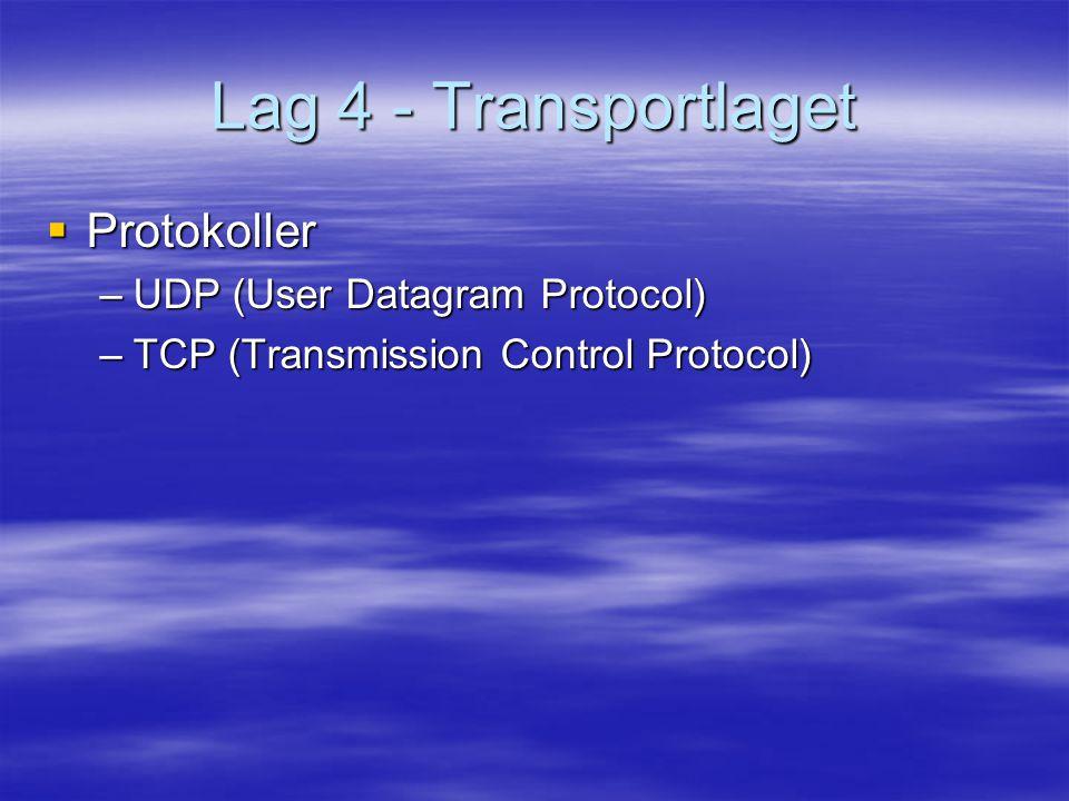 Lag 4 - Transportlaget  Protokoller –UDP (User Datagram Protocol) –TCP (Transmission Control Protocol)