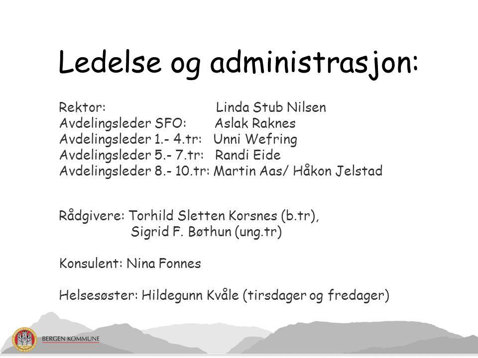 Ledelse og administrasjon: Rektor: Linda Stub Nilsen Avdelingsleder SFO: Aslak Raknes Avdelingsleder 1.- 4.tr: Unni Wefring Avdelingsleder 5.- 7.tr: R