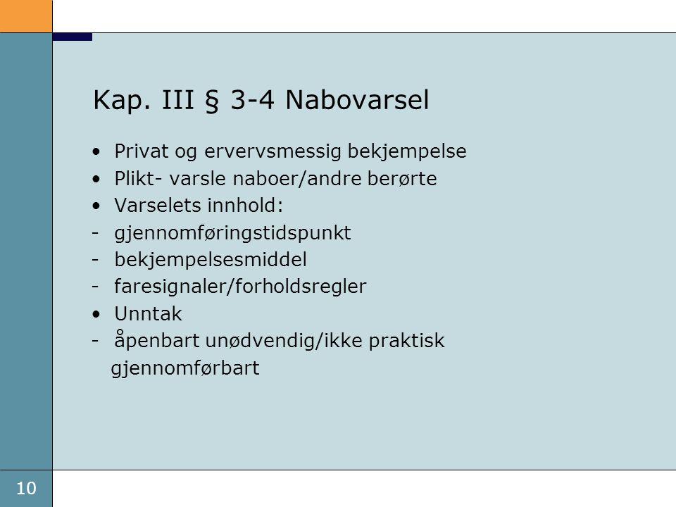 10 Kap. III § 3-4 Nabovarsel Privat og ervervsmessig bekjempelse Plikt- varsle naboer/andre berørte Varselets innhold: -gjennomføringstidspunkt -bekje